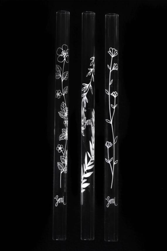 yoni brcka z ceskeho skla s potiskem kvetin