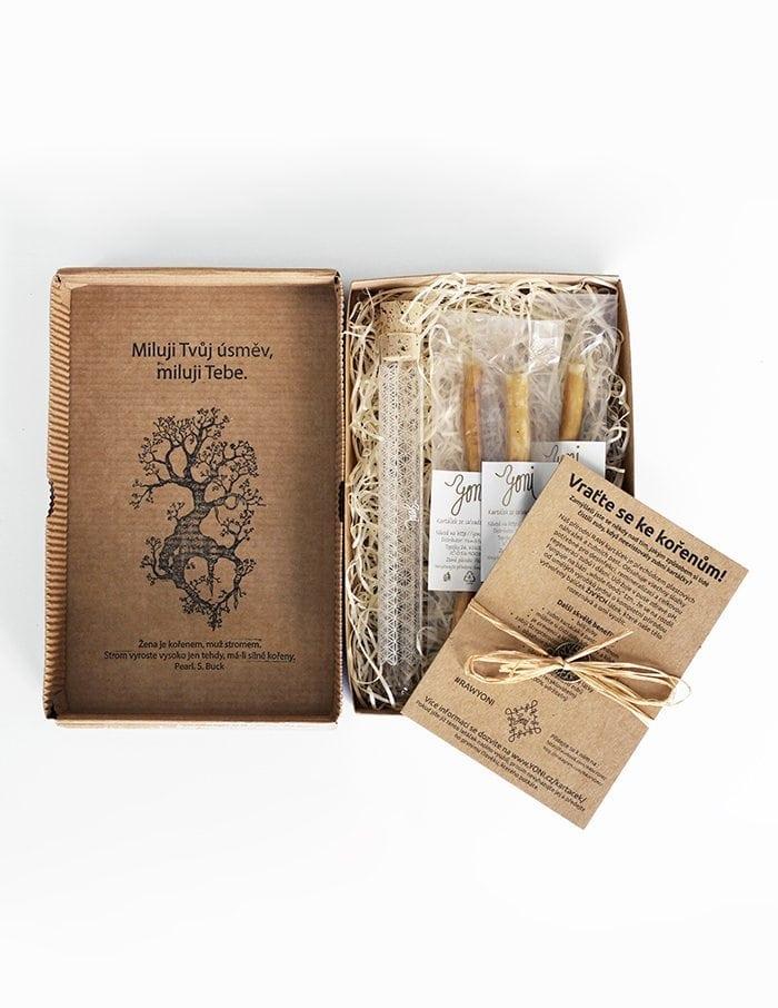Dárková krabička YONI přírodní kartáčky na zuby a pouzdro